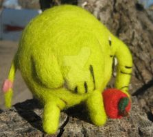 Side Pic of my Needle Felted Tree Trunks by CatsFeltLings