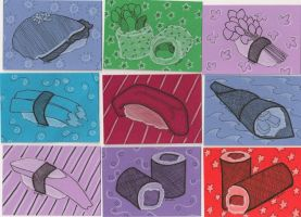 Sushi Art Cards by the-punk-hippie