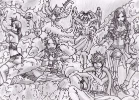 Fairy Tail's Strongest Team Above the Clouds by 52mew