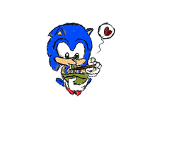 Sonic Eating Ramen by superskeetospro