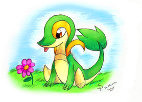 Little Tsutarja- Snivy by sim-pie