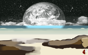 Space Beach Background by liongirl2289
