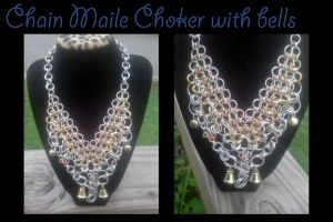Chainmaile choker with bells by WyckedDreamsDesigns