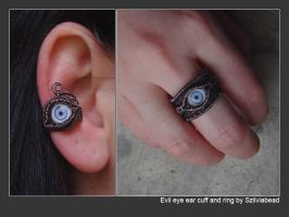 Evil eye ear cuff and ring by bodaszilvia