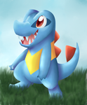 Totodile Painting by LittlePinkAlpaca