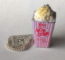 Box of Popcorn Necklace, Polymer clay by ChroniclesOfKate