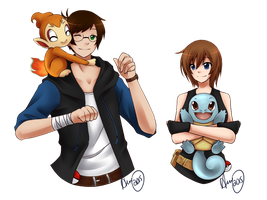 Pokemon Trainers Cliff and Hannah by GabrielRaven