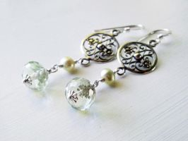 In the Garden - Green Amethyst and Pearl by QuintessentialArts
