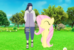 Hinata and Fluttershy Walking In The Garden by princevegeta86