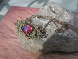 Singing birds Necklace in the Fire Morning Glories by artistiquejewelry