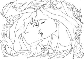 -kiss Pocahontas+john lineart- by lizzzy-art