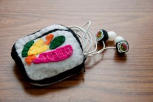 Sushi Earbuds Pouch by Demi-Plum