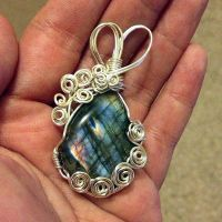 Peacock Colored Labradorite Pendant by SunreiCreations
