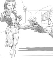 Hanako and Miranda Volleyball by Higalack