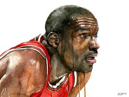 Michael Jordan Watercolor by Michael Pattison by MichaelPattison
