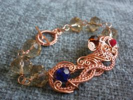 Copper Wire Wrapped Czech Bracelet by ChloeLB