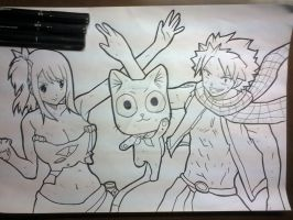 NaLu with Happy Line Art by master-cartoonist