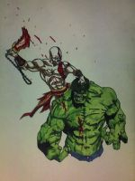 Kratos vs. The incredible Hulk by nebiru