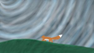 Fox standing on a hill by KVKH