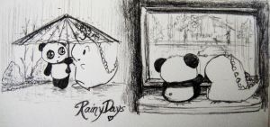 Dino and Panda Rainy Days by MelodicInterval