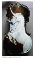 Prancing unicorn handpainted violin with gemstones by Hollow-Moon-Art