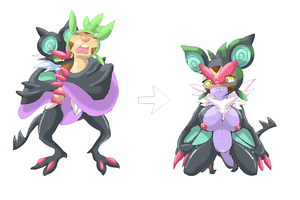 Boy Chespin into Sexy Noivern girl by namida2wind