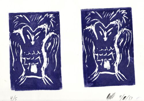 Unsettling Nocturnal Bird (Printmaking) by AxelDK64