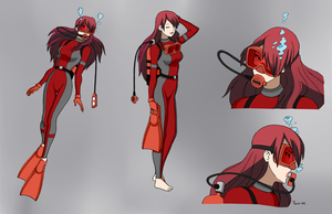 Mitsuru Kirijo Scuba - Color Commission by The-Sakura-Samurai