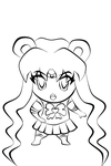 Sailor Moon Chibi lineart by hikaru117