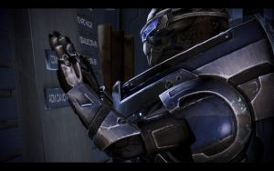 ME3 Garrus at the Memorial Wall by chicksaw2002