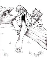 Riku and Sora by LadyProphet