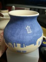 Small Pot: Tardis over the City by jinnybear