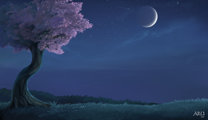 Sakura tree in the night by LowerSun