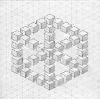 illusion cube sketch by herbevore