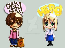 Haruhi and Saber Bookmarks by silent-requiem