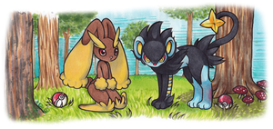 Lopunny and luxray by sevenstardust