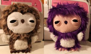 Brown and Purple Owlets by loveandasandwich