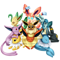 eeveelutions plushie family by AderiAsha