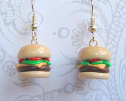 Cheeseburger Earrings by DragonsAndBeasties