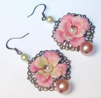 Flower and filigree earrings by jamberry-song