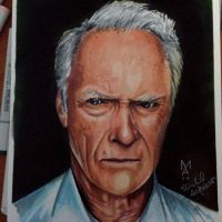 Clint Eastwood Copic Marker Drawing by Mikeashworthtattoos