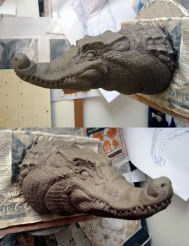 Crocodile Sculpt 1 by thebiscuitboy
