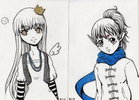 Two Colors Portraits 1 and 2 by ShiroiiTsubasa