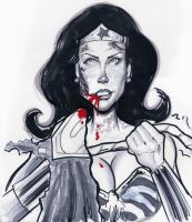 Zombie Wonder Woman Sketch by hcnoel