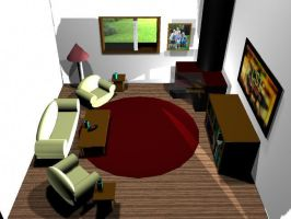 Living Room in 3D by AnimeGal2010