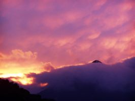 Clouds and Sunset and Mountain by think0