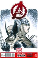 Avengers sketch cover featuring Wolverine and Thor by BigChrisGallery