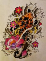 Koi Fish Lotus Cherry Blossom Tattoo by 814CK5T4R