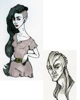 Ash and Marceline Sketches by damsel-in-distrust