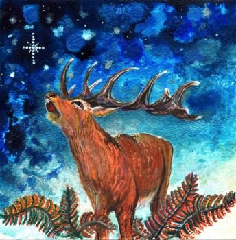 Stag christmas card by amyhooton
